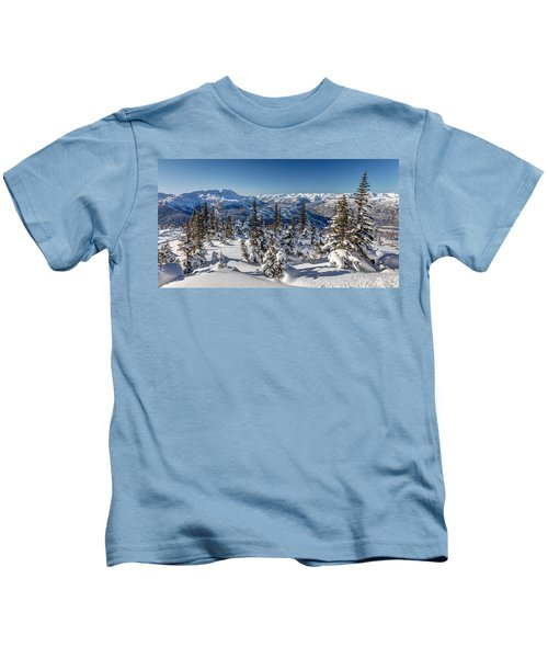 Snowy Whistler Mountain  Kids T-Shirt