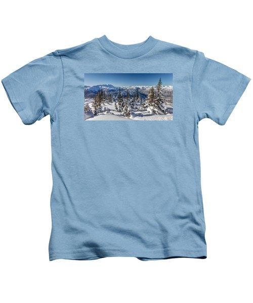 Snowy Whistler Mountain  Kids T-Shirt