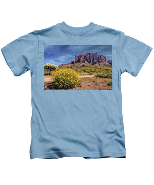 Springtime In The Superstition Mountains Kids T-Shirt