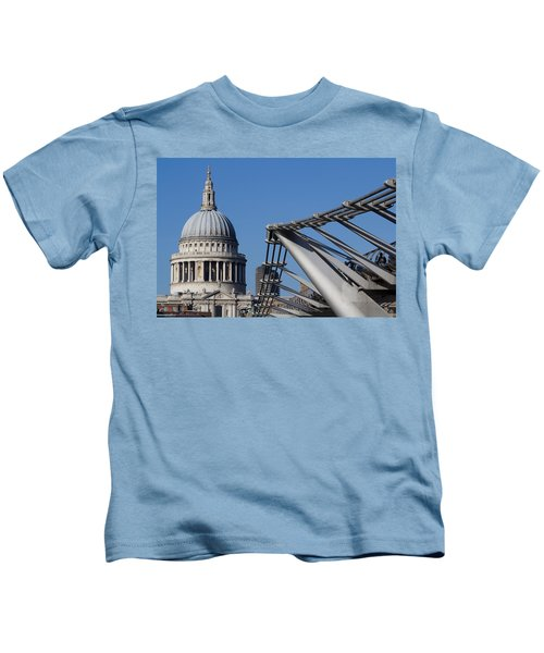 St Pauls Cathedral And The Millenium Bridge  Kids T-Shirt
