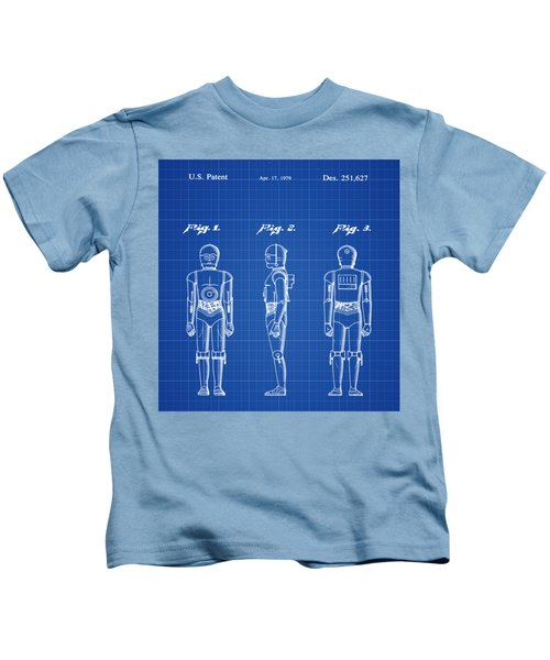 Starwars C3p0 Blue Print Kids T-Shirt