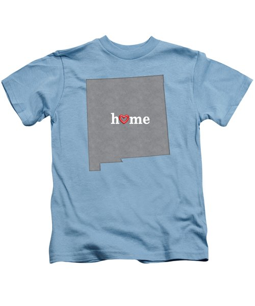 State Map Outline New Mexico With Heart In Home Kids T-Shirt