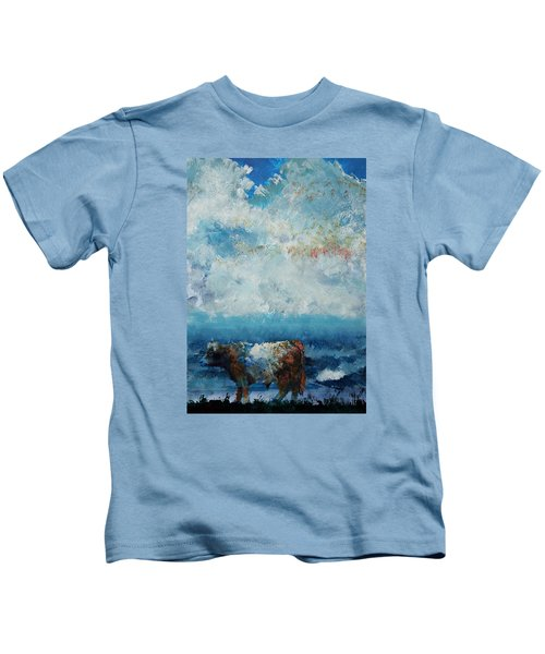 Storms Coming - Belted Galloway Cow Under A Colorful Cloudy Sky Kids T-Shirt
