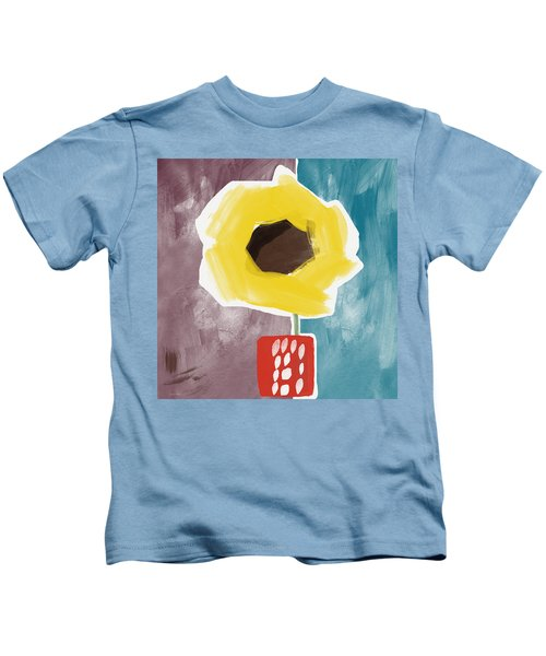 Sunflower In A Small Vase- Art By Linda Woods Kids T-Shirt