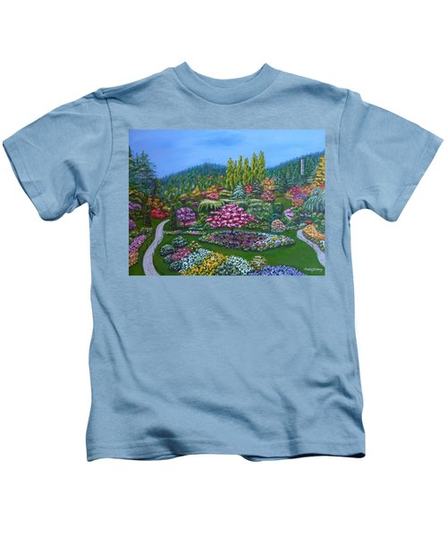 Kids T-Shirt featuring the painting Sunken Garden by Amelie Simmons