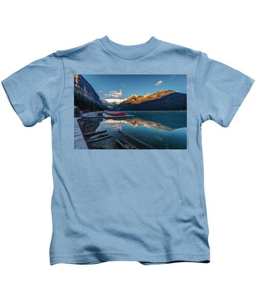Sunrise At The Canoe Shack Of Lake Louise Kids T-Shirt
