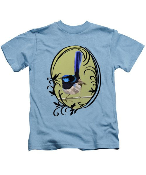 Superb Blue Wren Australian Bird Kids T-Shirt by Lorraine Kelly