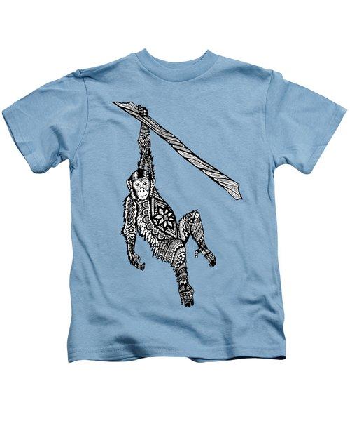 Swinging Chimpanzee Zentangle Kids T-Shirt