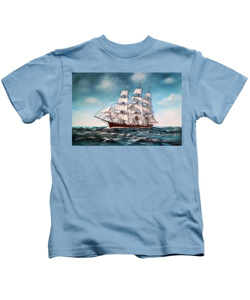 Tall Ship At Sea Kids T-Shirt