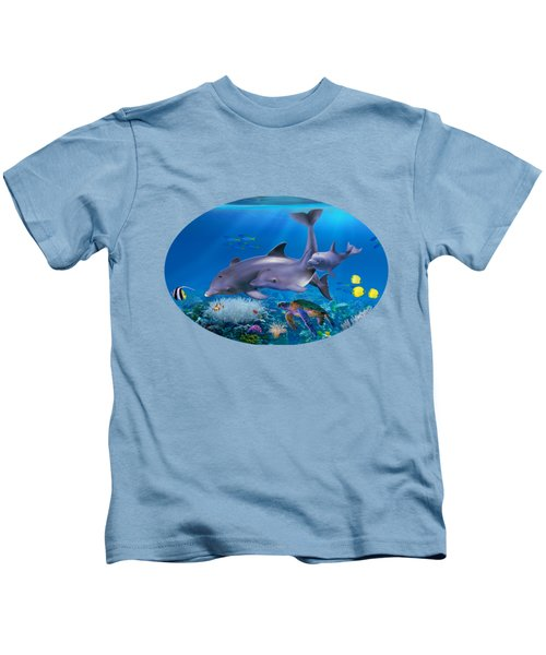 The Dolphin Family Kids T-Shirt by Glenn Holbrook
