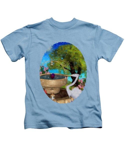 The Rose Path Egret Kids T-Shirt by Sharon and Renee Lozen