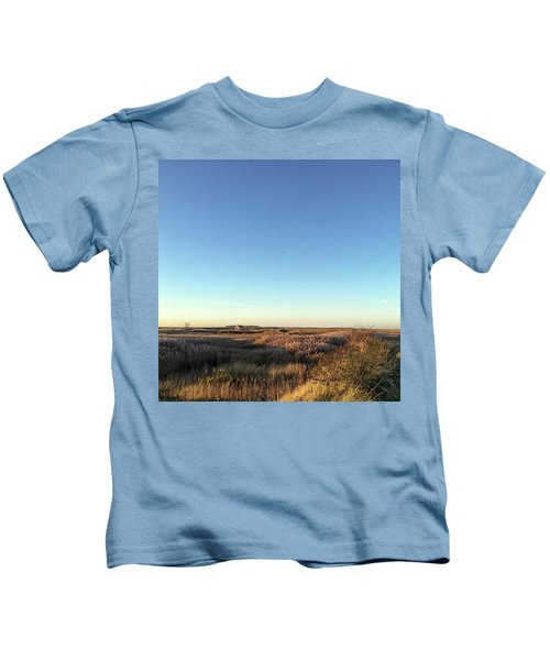 Thornham Marsh Lit By The Setting Sun Kids T-Shirt