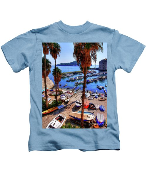 Through The Trees Dubrovnik Harbour Kids T-Shirt