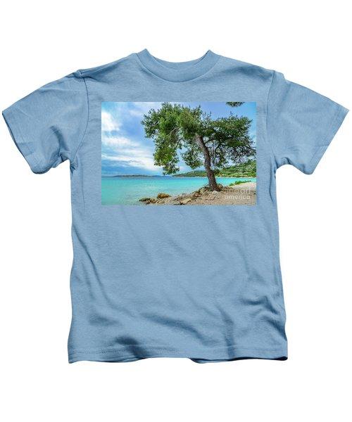 Tree On Northern Dalmatian Coast Beach, Croatia Kids T-Shirt
