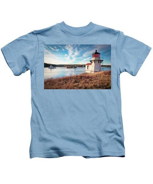 Tugboat, Squirrel Point Lighthouse Kids T-Shirt