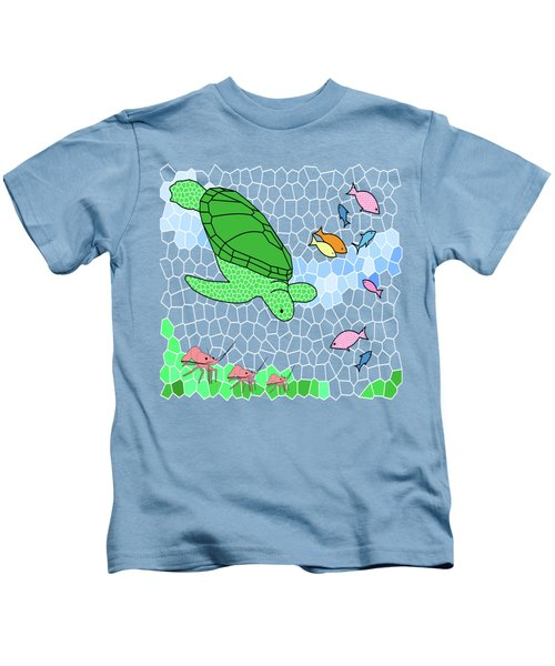 Turtle And Friends Kids T-Shirt by Methune Hively
