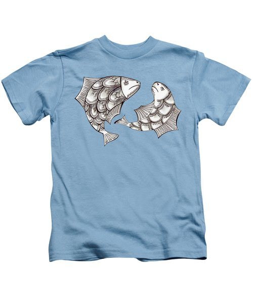 Two Ink Pen Graphic Hand Drawn Black And White Fish Kids T-Shirt by Victoria Yurkova
