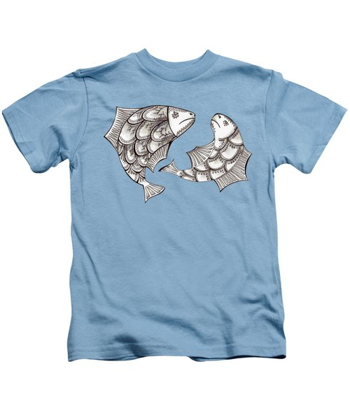 Two Ink Pen Graphic Hand Drawn Black And White Fish Kids T-Shirt