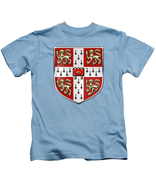 University Of Cambridge Seal - Coat Of Arms Over Colours Kids T-Shirt by Serge Averbukh
