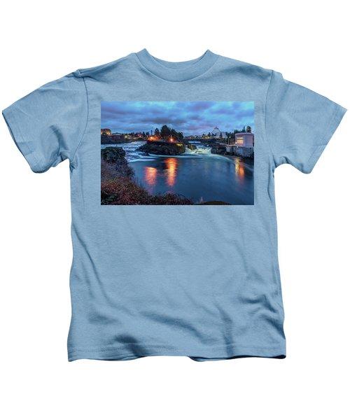 Upper Spokane Falls At Dusk Kids T-Shirt
