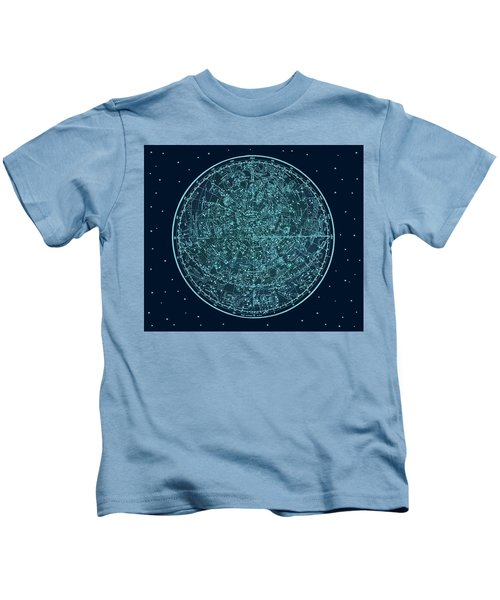 Vintage Zodiac Map - Teal Blue Kids T-Shirt