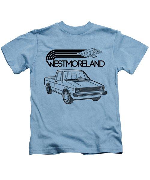 Vw Rabbit Pickup - Westmoreland Theme - Black Kids T-Shirt by Ed Jackson