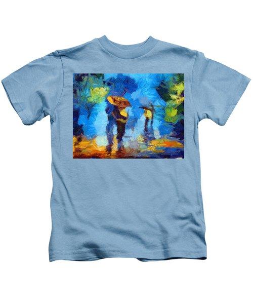 Walking In The Rain Kids T-Shirt
