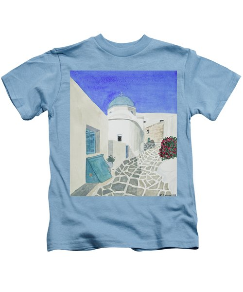 Watercolor - Paros Church And Street Scene Kids T-Shirt