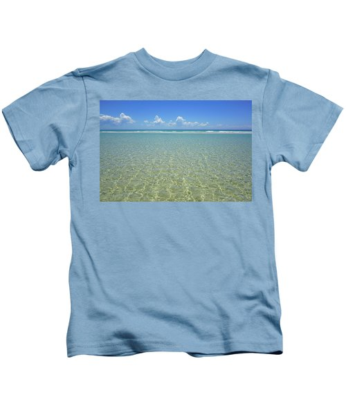Where Crystal Clear Ocean Waters Meet The Sky Kids T-Shirt
