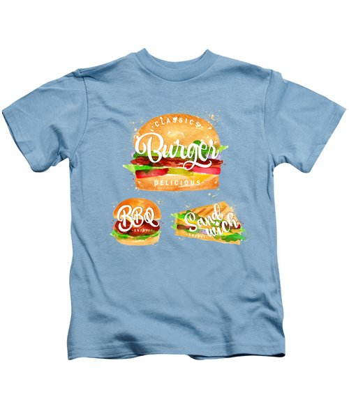White Burger Kids T-Shirt by Aloke Creative Store