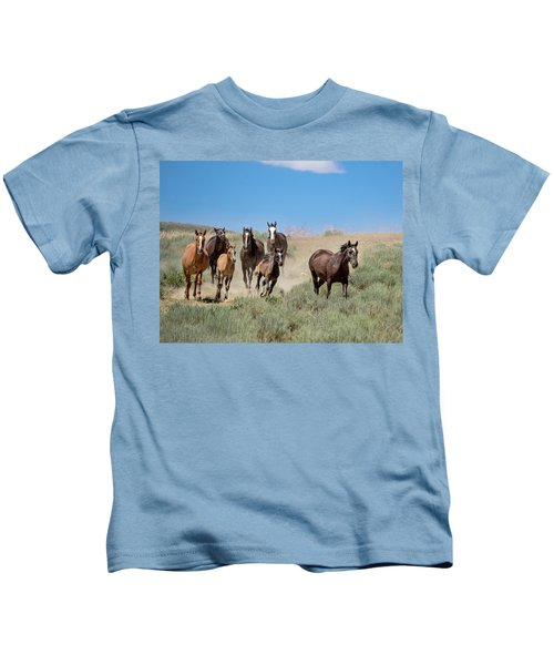 wild mustangs on the run to the water hole in Sand Wash Basin Kids T-Shirt
