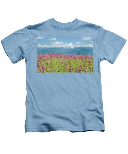 Wildflower Meadows And The Carpathian Mountains, Romania Kids T-Shirt