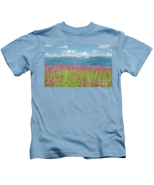 Wildflower Meadows And The Carpathian Mountains, Romania Kids T-Shirt