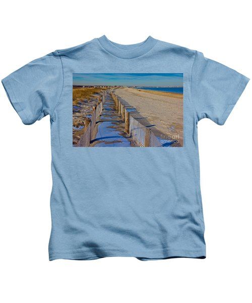 Winter On Duxbury Beach Kids T-Shirt