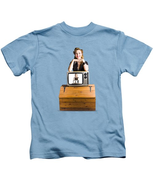 Woman  In Front Of Tv Camera Kids T-Shirt