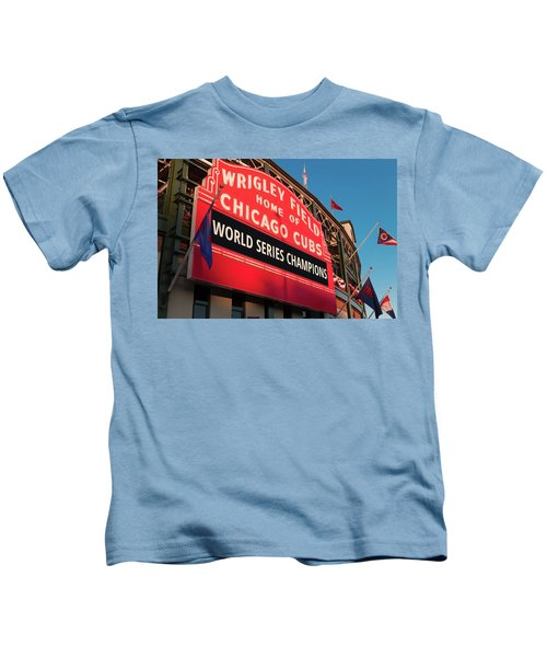 Wrigley Field World Series Marquee Angle Kids T-Shirt