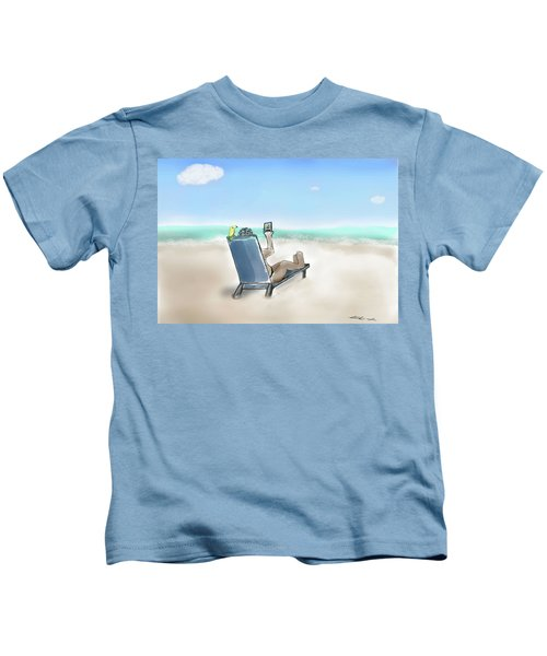 Yellow Bird Beach Selfie Kids T-Shirt