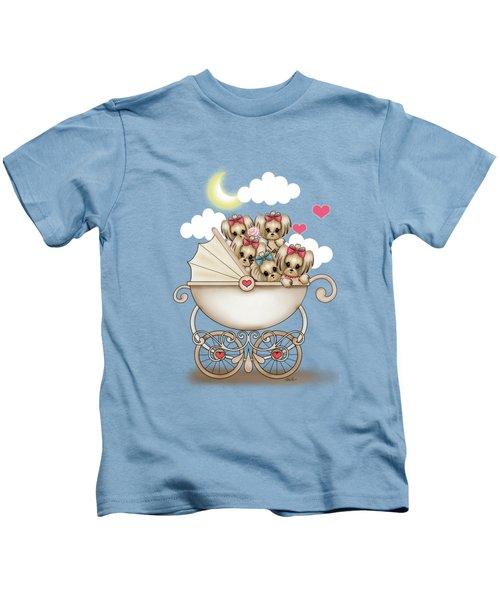 Yorkie Babies Strolling  Kids T-Shirt