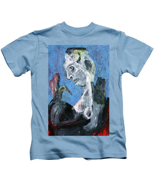 Portrait With A Bird Kids T-Shirt