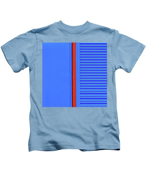 Blue With Red Stripe Kids T-Shirt