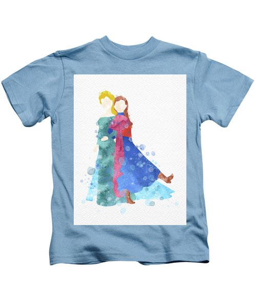 Anna And Elsa Watercolor Kids T-Shirt