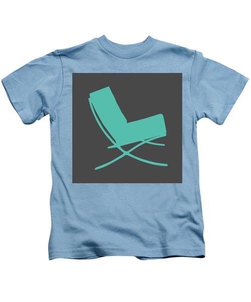 Barcelona Chair Teal Kids T-Shirt