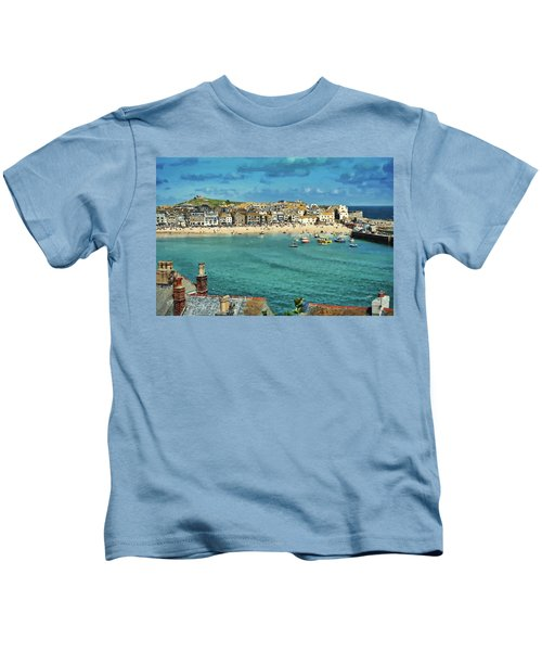 Beach From Across Bay St. Ives, Cornwall, England Kids T-Shirt