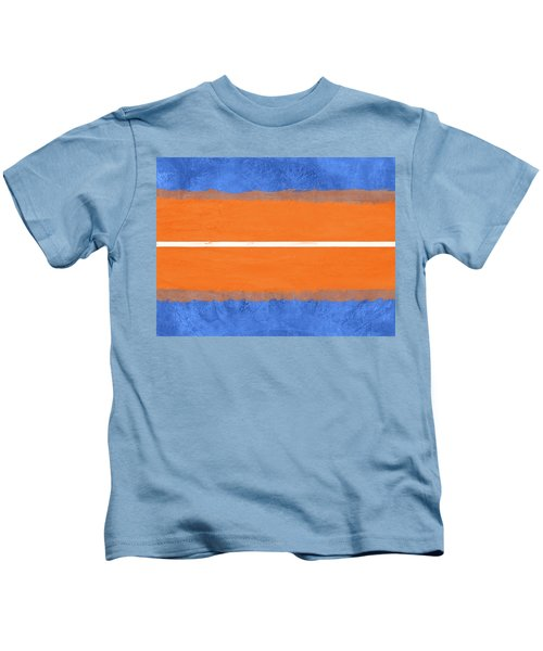 Blue And Orange Abstract Theme Iv Kids T-Shirt