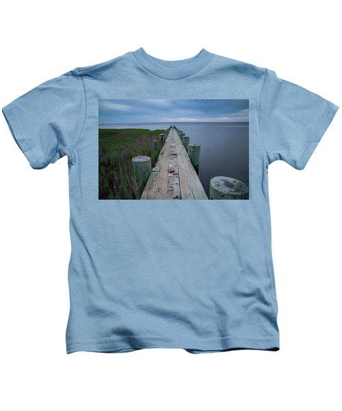 Breakwater At Harvey Beach In Old Saybrook Kids T-Shirt