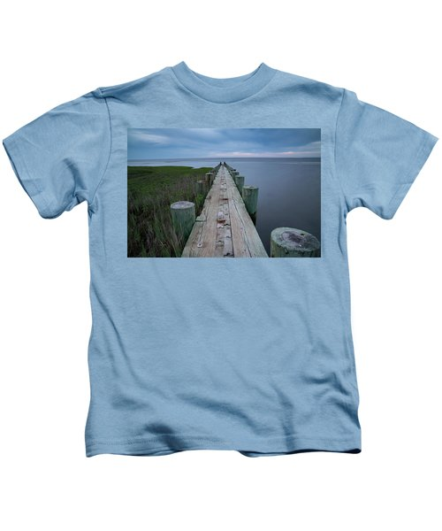 Breakwater At Harvey Beach In Old Saybrook Kids T-Shirt