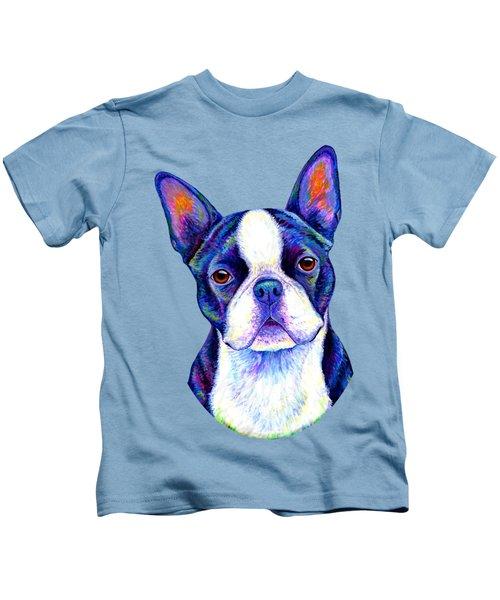 Colorful Boston Terrier Dog Kids T-Shirt