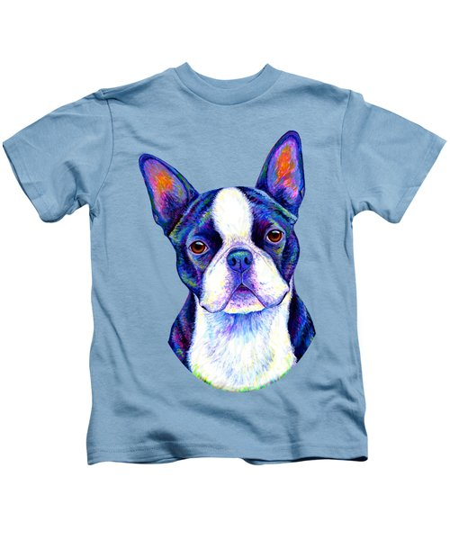 Colorful Boston Terrier Dog Kids T-Shirt