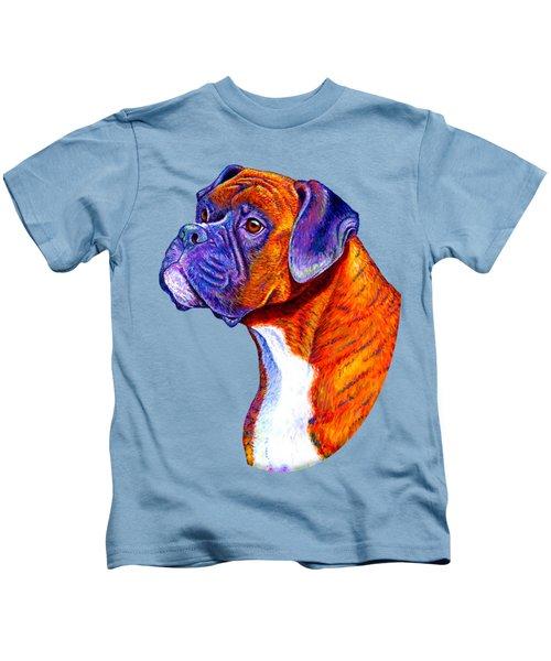 Colorful Brindle Boxer Dog Kids T-Shirt