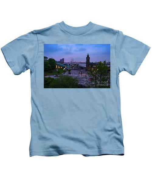 Dawn Over The Port And City Hamburg Panorama Kids T-Shirt